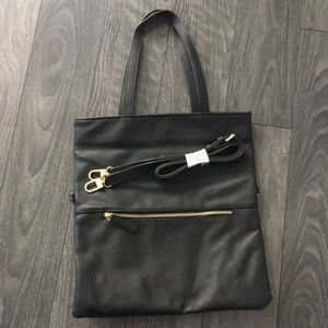 Black tote bag with removable strap